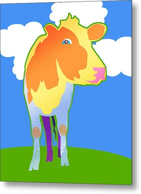 Cosmic Cow Metal Print by Mary Ogle