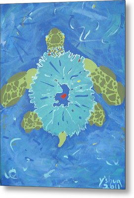 Metal Print featuring the painting Cosmic Turtle by Yshua The Painter
