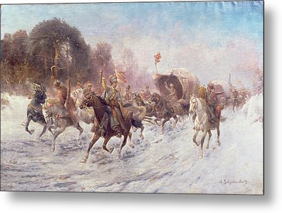 Cossacks In A Winter Landscape   Metal Print by Anton Baumgartner Stoiloff