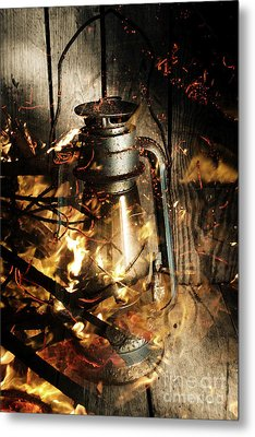 Cosy Open Fire. Cottage Artwork Metal Print by Jorgo Photography - Wall Art Gallery
