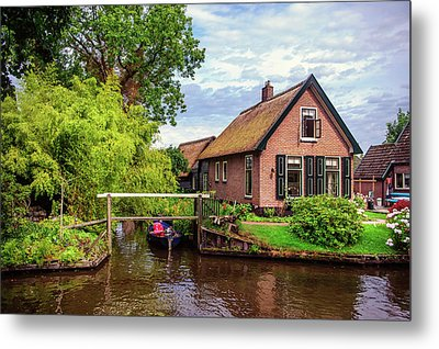 Metal Print featuring the photograph Cottage At Canal In Giethoorn by Jenny Rainbow