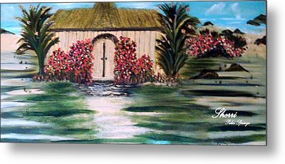Metal Print featuring the painting Cottage By The Sea by Sherri  Of Palm Springs