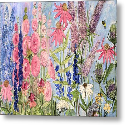 Metal Print featuring the painting Cottage Flowers With Dragonfly by Laurie Rohner