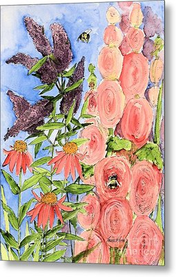 Cottage Garden Hollyhock Bees Blue Skie Metal Print by Laurie Rohner