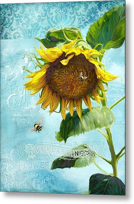 Cottage Garden Sunflower - Everlastings Seeds N Flowers Metal Print by Audrey Jeanne Roberts