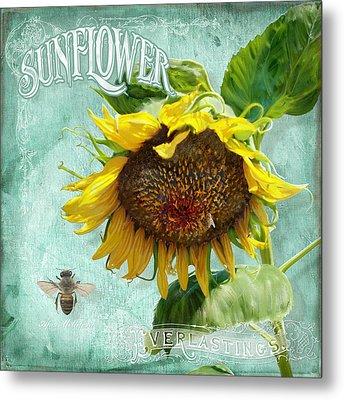 Cottage Garden - Sunflower Standing Tall Metal Print by Audrey Jeanne Roberts