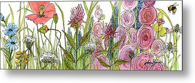 Cottage Hollyhock Garden Metal Print by Laurie Rohner