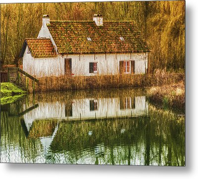 Cottage Reflection Metal Print by Wim Lanclus