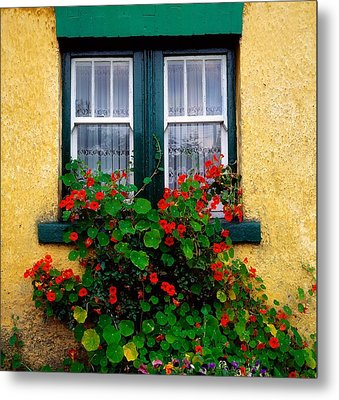 Cottage Window, Co Antrim, Ireland Metal Print by The Irish Image Collection