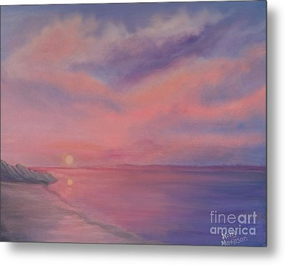 Metal Print featuring the painting Cotton Candy Sky by Holly Martinson