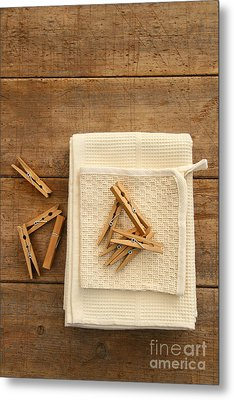 Cotton Dish Towel With Clothes Pins Metal Print by Sandra Cunningham