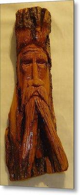 Cottonwood Bark  Wood Spirit Metal Print by Russell Ellingsworth