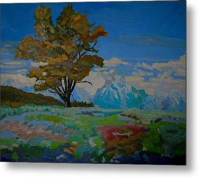 Cottonwood On Teton Range Metal Print