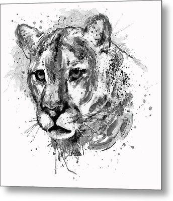 Metal Print featuring the mixed media Cougar Head Black And White by Marian Voicu