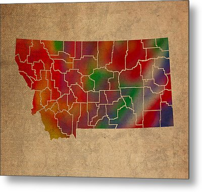 Counties Of Montana Colorful Vibrant Watercolor State Map On Old Canvas Metal Print