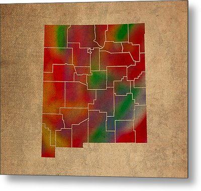 Counties Of New Mexico Colorful Vibrant Watercolor State Map On Old Canvas Metal Print