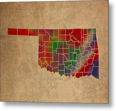 Counties Of Oklahoma Colorful Vibrant Watercolor State Map On Old Canvas Metal Print by Design Turnpike