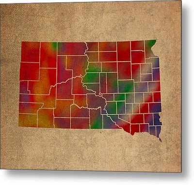 Counties Of South Dakota Colorful Vibrant Watercolor State Map On Old Canvas Metal Print