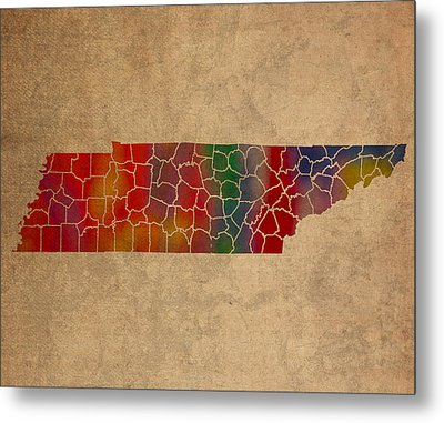 Counties Of Tennessee Colorful Vibrant Watercolor State Map On Old Canvas Metal Print by Design Turnpike
