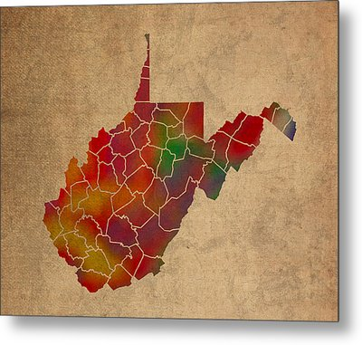 Counties Of West Virginia Colorful Vibrant Watercolor State Map On Old Canvas Metal Print by Design Turnpike