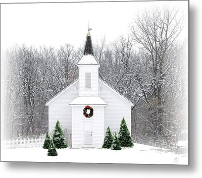 Country Christmas Church Metal Print by Carol Sweetwood