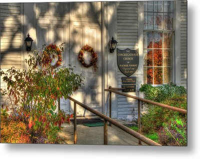 Country Church In Autumn - Vermont Fall Metal Print