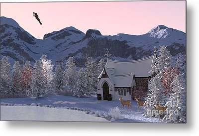 Metal Print featuring the digital art Country Church by Methune Hively