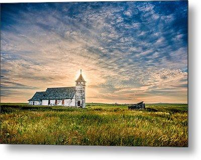Country Church Sunrise Metal Print