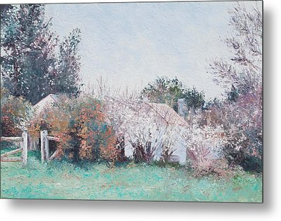 Country Cottage In Spring Time Metal Print