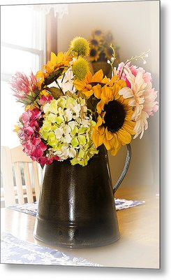 Country Flower Bouquet Metal Print by Trudy Wilkerson