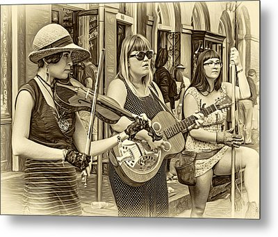 Country In The French Quarter 3 Sepia Metal Print by Steve Harrington