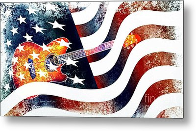 Country Music Guitar And American Flag Metal Print