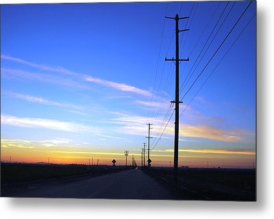 Metal Print featuring the photograph Country Open Road Sunset - Blue Sky by Matt Harang