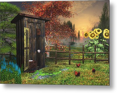 Country Outhouse Metal Print