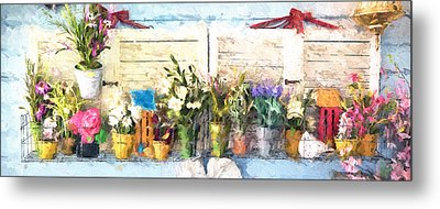 Country Porch Flowers Metal Print by Gary Guthrie