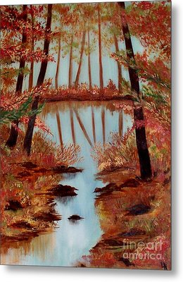 Metal Print featuring the painting Country Reflections by Leslie Allen