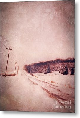 Country Road In Snow Metal Print by Jill Battaglia