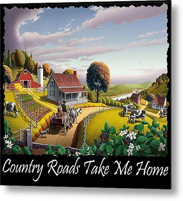 Country Roads Take Me Home T Shirt - Appalachian Blackberry Patch Country Farm Landscape 2 Metal Print by Walt Curlee