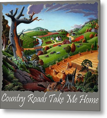 Country Roads Take Me Home T Shirt - Autumn Wheat Harvest 2 Country Farm Landscape Metal Print by Walt Curlee