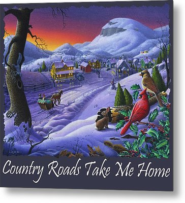 Country Roads Take Me Home T Shirt - Small Town Winter Landscape With Cardinals 2 - Americana Metal Print by Walt Curlee