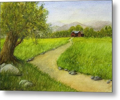 Country Scene - Barn In The Distance Metal Print