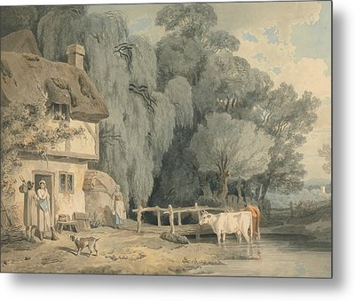 Country Scene - Figures By A Cottage Door And Cattle In A Stream Metal Print