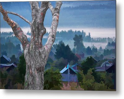 Country Side Morning Mist Metal Print