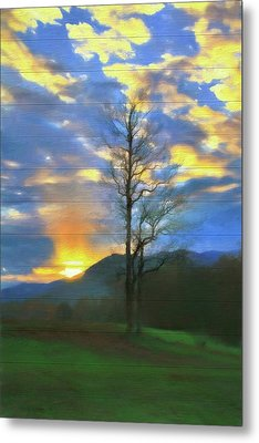 Country Sunset On Wood Metal Print