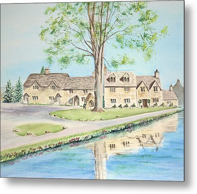 Metal Print featuring the painting Countryside Cottages by Elizabeth Lock