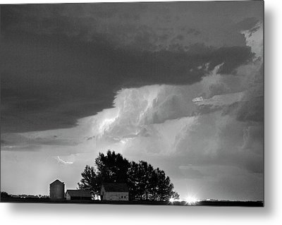 County Line Northern Colorado Lightning Storm Bw Metal Print by James BO  Insogna