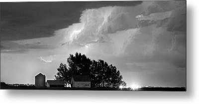 County Line Northern Colorado Lightning Storm Bw Pano Metal Print by James BO  Insogna