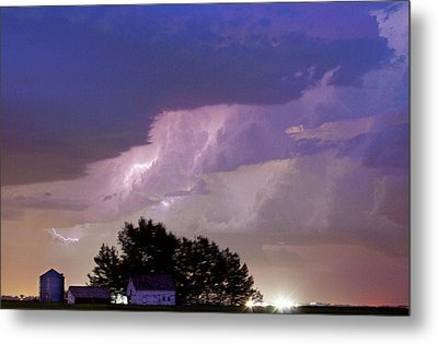 County Line Northern Colorado Lightning Storm Cropped Metal Print by James BO  Insogna
