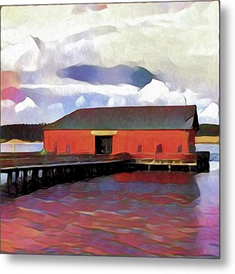 Coupeville Wharf Painterly Effect Metal Print by Carol Leigh
