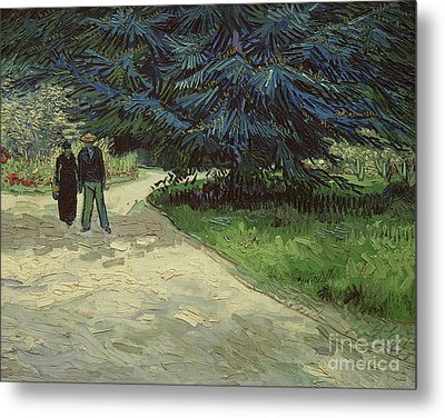 Couple In The Park Metal Print by Vincent Van Gogh